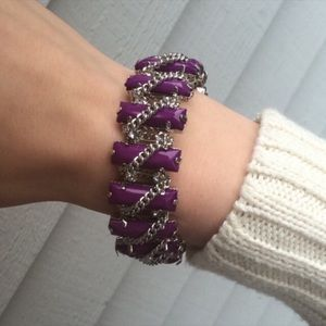 T & J Designs Purp/Silvr Bracelet